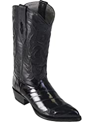 Genuine EEL SKIN BLACK J-TOE Los Altos Mens Western Cowboy Boot 990805