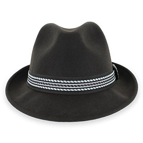Belfry Striped Trilby Men Women Crushable Wool Felt Fedora Hat (Brown, XXLarge)