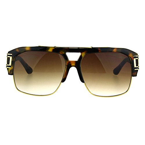 Mens Mobster Half Rim Gradient Lens Mafia Racer Aviator Sunglasses Tortoise Gold - Glasses Mafia