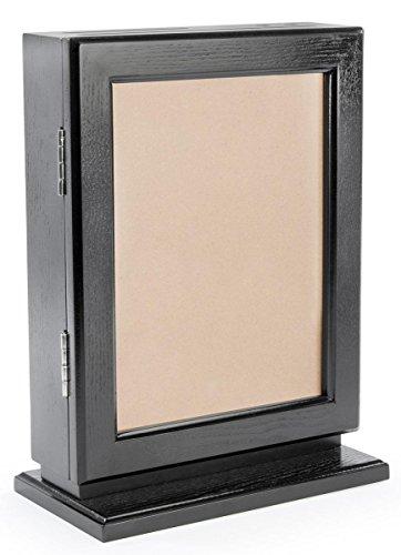 Displays2go 2-Slots Genuine Wood Suggestion Boxes with Pen, Locking Door, Black by Displays2go