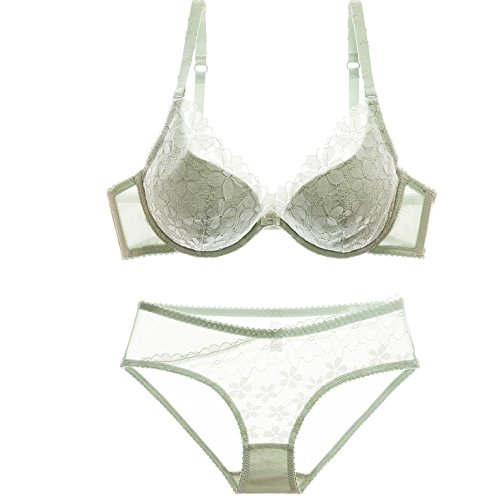 VOYAGEA Europe and the United States large lace sexy comfortable push breathable bra set (85D=38C, green)