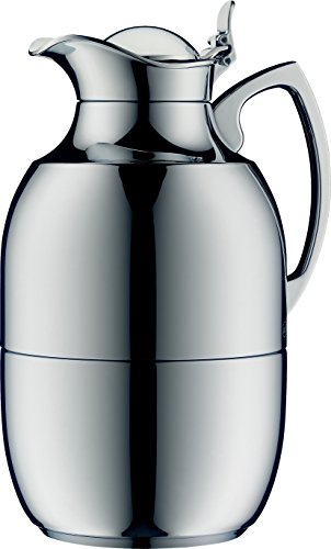 alfi Juwel Glass Vacuum Chrome Plated Brass Thermal Carafe for Hot and Cold Beverages, 1.5 L, Chrome ()
