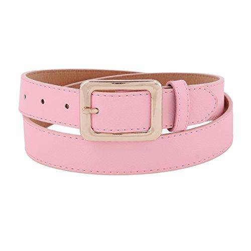 Damara Womens Chunky Adjustable Metal Keeper Skinny Jeans Belt,Pink (Pink Leather Belt Strap)