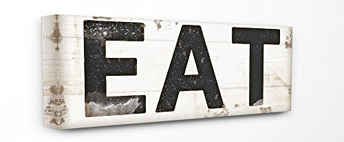 Stupell Industries EAT Typography Vintage Sign Stretched Canvas Wall Art, 10 x 1.5 x 24, Proudly Made in USA