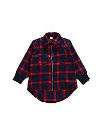 Unisex Infant Baby Plaid Shirt Toddler Boys Girls Zipper Up Hi-Lo Hem Top Blouse
