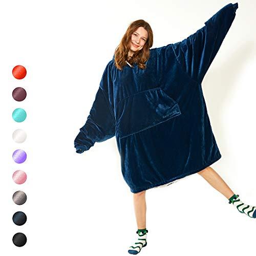 Blanket Sweatshirt Cozy Oversized Hoodie,One Size Sherpa Comfortable Gaint Hoodie for All,Ultra-Soft Warm Giant Sweatshirt Blanket,Reversible Oversided Hoddie Blanket Sweatshirt (Blue_ONE Size)