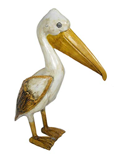 - Hand Carved Nautical Wood Pelican Statue Carving Sculpture Art
