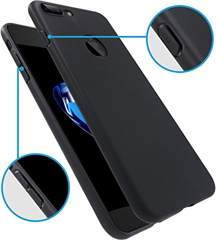 iPhone 7 Plus Case, HZ BIGTREE [0.5mm] Ultra Thin [ Perfect Slim Fit ] Thinnest [Light Weight] Soft Touch Flexible Protect Case Back Cover Bumper for Apple iPhone 7 Plus 5.5 inch [matte black]