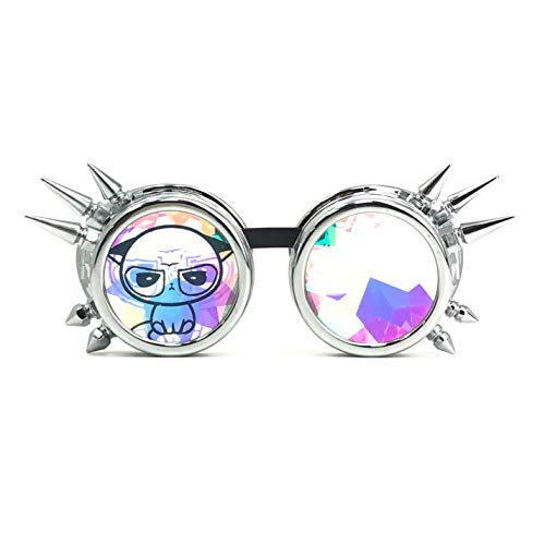 3D Rainbow Prism Kaleidoscope Rave Glasses, Diffraction Steampunk Goggles, Shiny Silver Spikes, Grumpy Cute cat -