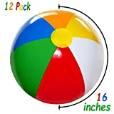 4E's Novelty Inflatable Beach Balls Pack of 12 Bulk Large 16-inch, Summer Beach & Pool Party Supplies, Beach Ball for Kids Toddlers Boys Girls By