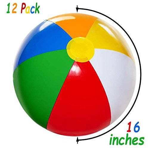 4E's Novelty Inflatable Beach Balls Pack of 12 Bulk Large 16-inch, Summer Beach & Pool Party Supplies, Beach Ball for Kids Toddlers Boys Girls By by 4E's Novelty