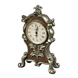 Sterling Industries 93-19322 Desk Clock in Antique Silver and Chestnut