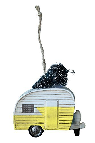 Yellow 3.5 Inch Resin RV Camper with Christmas Tree Ornament by Creative Co-op (Vintage Ornament Camper Christmas)
