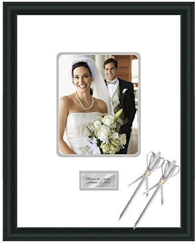 Engraved Wedding Signature Frame 16x20 Photo Matted Frames Retirement Anniversary Weddings Guest Book Baby Shower 8x10 Photo Satin Matte Black Wood Gray Matted