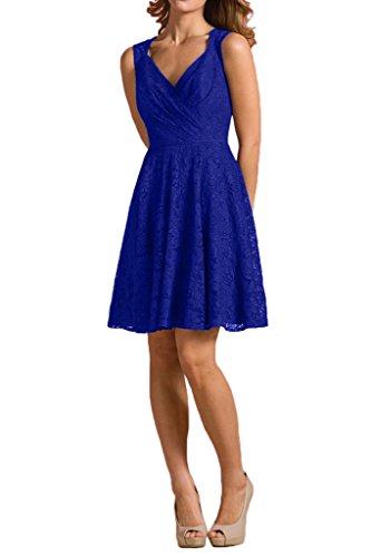 Brautjungfernkleider V Rock linie Spitze Royal ausschnitt Blau Traube mia La Abendkleider A Partykleider Braut SqZ004