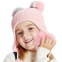 ENJOYFUR Hat Winter Girl Boys Hat Kid Knit Double Pompom Ear Flaps Beanie Hats