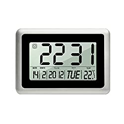 Wall Clocks, HeQiao Decorative Desk Shelf Clock Silent Digital Large LCD Battery Operated Temperature Calendar Day Alarm Clocks for Seniors Home Office (12 Inch, Black W/ Silver)