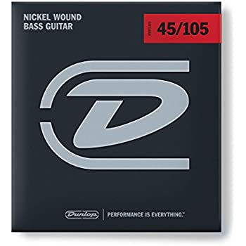 Dunlop DBN45105 Nickel Wound Bass Strings, Medium, .045–.105, 4 Strings/Set