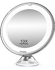 BEAUTURAL Lusterko kosmetyczne z 10-krotnym powiększeniem, podświetlane LED, obracane o 360°, z wbudowaną przyssawką, lustro do golenia, lustro ścienne, zasilane bateriami