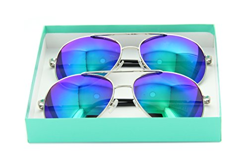 Classic Aviator Reflective Mirror Lens Sunglasses Gift Box Men Women Shades (2 Turquoise, - Turquoise Aviators