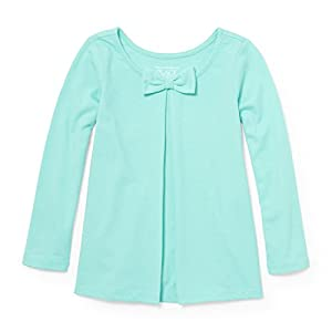 The Children's Place Baby Little Girls' Solid Bow Knit Top, Sea Frost 94319, 3T