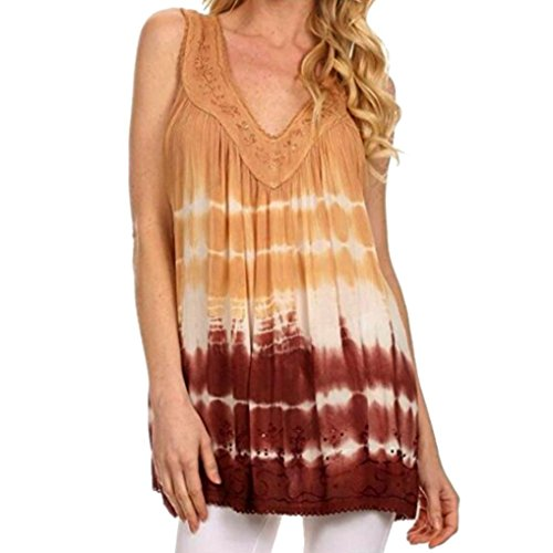 Dust Tee (Realdo Women Plus Size Tank Tops Lace Sleeveless Loose Tee (Size 5XL=US 20, Brown))