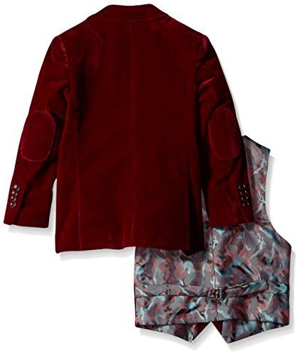 Isaac Mizrahi Boys' Little Boys' 3 Piece Velvet Suit, Burgundy, 6 by Isaac Mizrahi (Image #2)