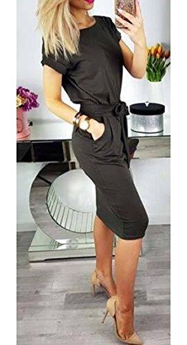 Jaycargogo La Femme Robe Nouée À La Taille Été Décontracté Manches Courtes Bodycon Midi 1