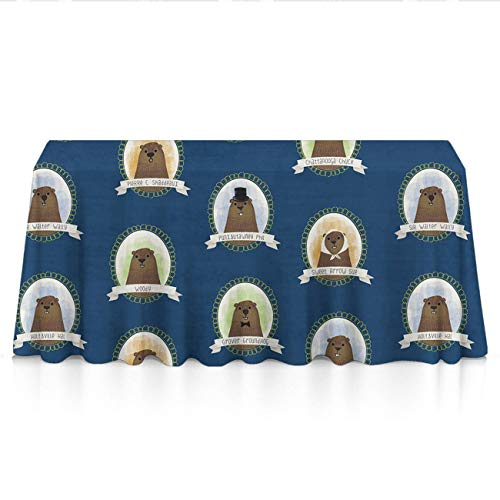 GOAEACH Stain Resistant Waterproof Rectangular/Square Tablecloths - Cute Famous Groundhogs Blue Table Art, Square Round Tables Tablecovers Wedding Dinner Parties Celebrations -