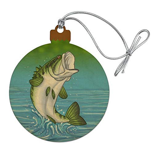 GRAPHICS & MORE Bass Fish Jumping Out of Water Fishing Wood Christmas Tree Holiday Ornament