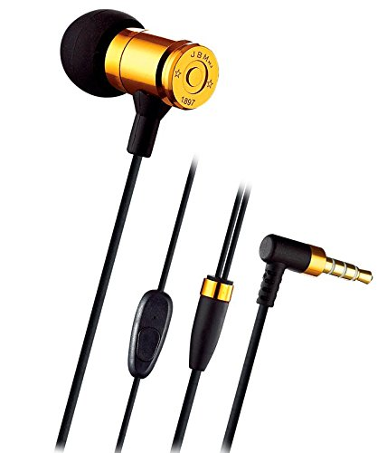 3.5mm Jack In-Ear Wired Metal Earphone, Version 2.0 Enhanced Stereo Bass Headphones Earbud with Crystal Clear Sound and Comfort-Fit (With Mic(Yellow))