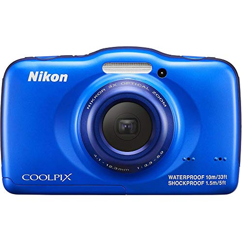 Nikon COOLPIX S32 13.2 MP Waterproof Digital Camera with Full HD 1080p Video (Blue)(Certified Refurbished)