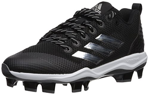 adidas Men's Freak X Carbon Mid Softball Shoe, Black/Metallic Silver/White, 6 Medium US (Softball Shoe Mid)