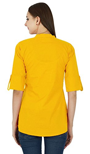 Ocre Sundress Coton Top pour Jaune Vtements Solide Robe en Boho Tunique APq6Wg