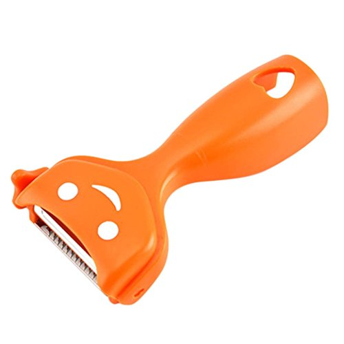 (Clearance Sale!DEESEE(TM)3 in 1 Rotary Fruit Vegetable Carrot Potato Peeler Cutter Slicer Amazing Healthy (Orange))