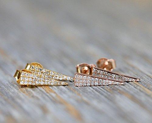 Diamond Triangle Stud Earring 14K Gold genuine pave diamond dainty post 14k Vs2 Earrings