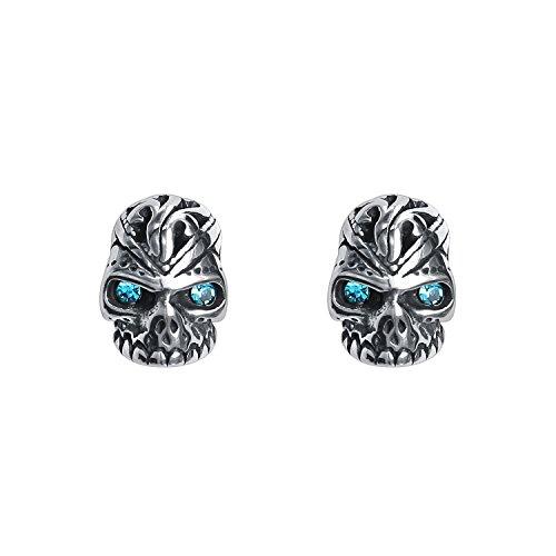 Awesome Skull Skeleton Post Stud Earrings Stainless Steel Crystal Ear Stud Halloween Earrings Men Unisex (Blue) -