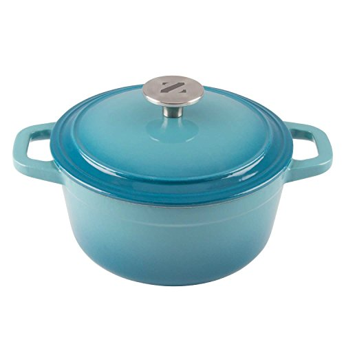Zelancio 3 Quart Cast Iron Enamel Covered Dutch Oven Cooking Dish with Skillet Lid (Teal)