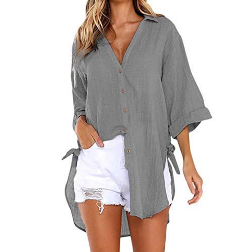 Women Loose Button Long Sleeve Shirt Dress Cotton Linen Blouse Casual Solid Top (XL, ()