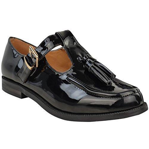 Mujeres Damas Mocasines Planos Informal oficina colegio Flequillo Hebilla Borlas Bombas Talla - negro patente, 36: Amazon.es: Zapatos y complementos