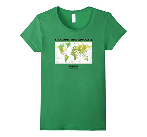 Womens Standard Time Advocate Inside World Map Time Zones Humor Small Grass