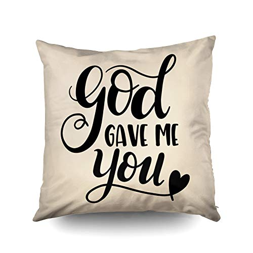 (Capsceoll Halloween god gave me You Decorative Throw Pillow Case 18X18Inch,Home Decoration Pillowcase Zippered Pillow Covers Cushion Cover with Words for Book Lover Worm Sofa)