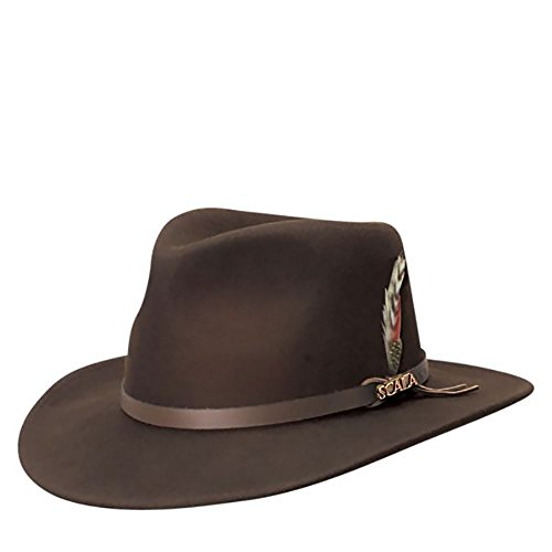 (SCALA Classico Men's Crushable Felt Outback Hat, Chocolate)