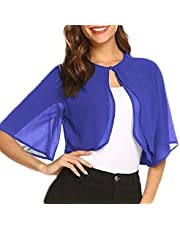 Women's Short Sleeve Bolero Chiffon Shrug Open Front Cardigan