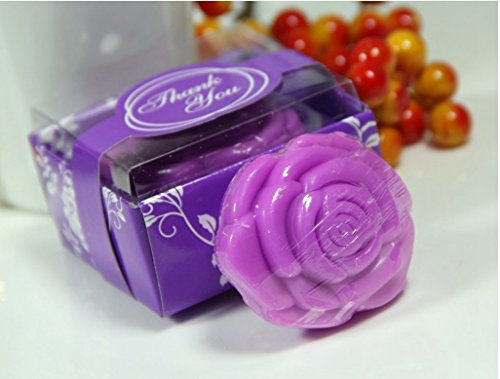 Baby Shower Soap Favors Handmade Soap Cute Purple Rose Soap Favors for Wedding Gift Soap or Baby Shower Party Favors 12Pcs (Soap Tin Gift)