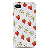 Dream Wireless Crystal Rubber Case for iPhone 4/4S, Retail Packaging, White/Strawberry