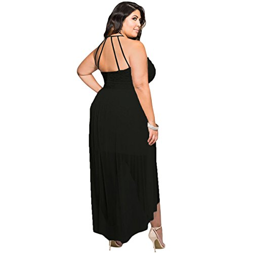 Sugarwewe Stylish Black Halter Lace Special Occasion Plus Size Dress