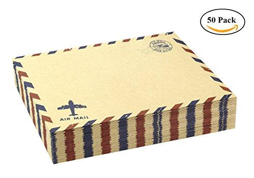 BeeChamp 50pcs Open Side Vintage Invitation Envelopes Airmail Stationery, Brown Kraft