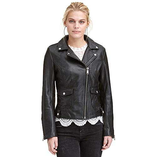 Wilsons Leather Womens Wilsons Vintage Center Zip Open Collar Cycle Leather Jack