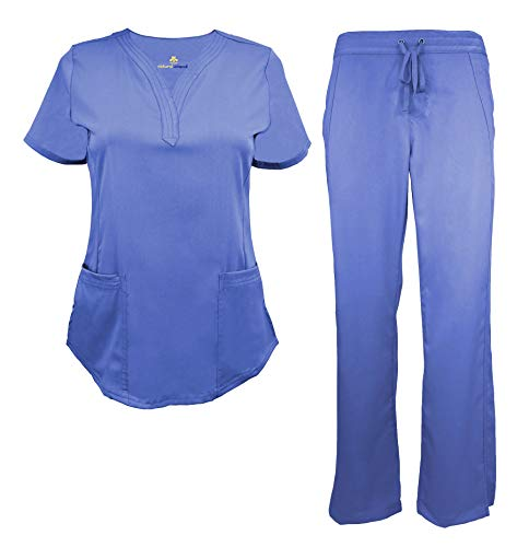 Natural Uniforms Women's Ultra Soft Drop-Neck Scrub Set (Ceil Blue, -